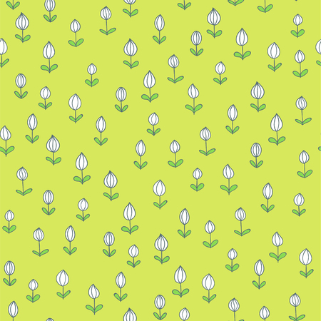 Spring seamless texture. Vector hand drawn herbs. Doodle style floral pattern Illustration