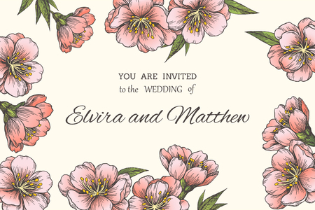Vector floral background with blooming almond for invitation or greeting cards. Vetores