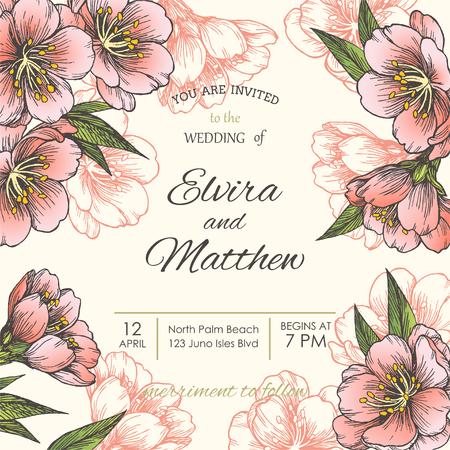 Vector bloemenachtergrond met bloeiende amandel voor uitnodiging of groetkaarten. Hand getrokken botanische illustratie met Lentebloemen van appel, kers of perzikboom.