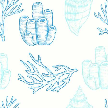 海洋生物。手でシームレスなパターンをベクトル描画海自然の要素