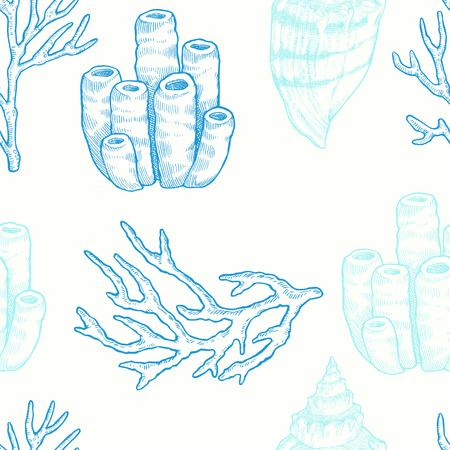 oceanarium: Marine life. Vector seamless pattern with hand drawn sea natural elements