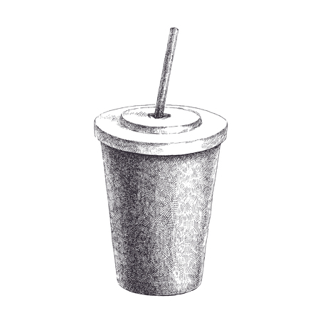 Drink in paper cup with straw. Hand drawn vector illustration of milk shake in disposable container isolated on white background. Ilustração