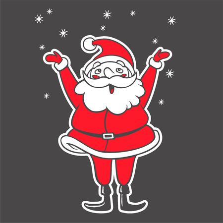 A Vector hand drawn illustration of Santa Claus catching snowflakes. Christmas cartoon character raising hands up. Symbol of New Year