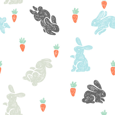 Vector seamless pattern with cute bunnies and carrots. Baby texture with small rabbits in sketch style isolated on white background