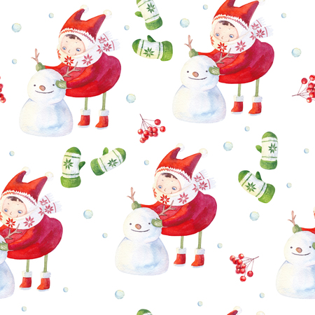 Watercolor seamless pattern with little girl sculpting snowman outdoor. Winter hand painted texture with cute cartoon character, mittens and rowan branch with red berries isolated on white