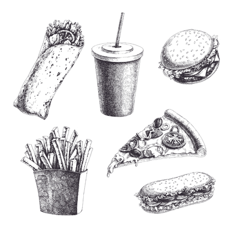 Vector vintage set with engraved fast food illustrations. Hand drawn burger, sandwich, wrap, french fries, pizza slice and drink isolated on white.