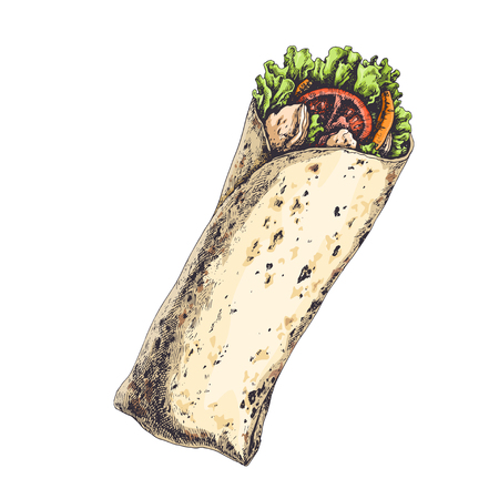 Tasty wrap with tomatoes, pieces of pepper, meat and lettuce leaves isolated on white. Hand drawn vintage illustration with traditional mexican or arabic food.