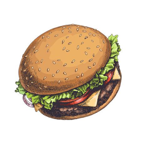Smaczny burger z pomidorami, kawałkami sera, mięsem i liśćmi sałaty na białym tle. Ręcznie rysowane kolor vintage ilustracji z tradycyjnym amerykańskim fast foodem.