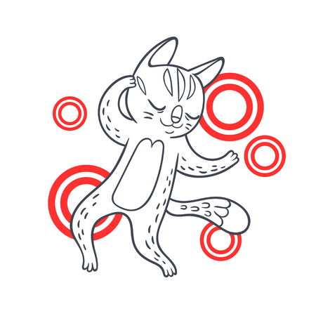 Vector hand drawn illustration of funny dancing cat on disco party. Illustration