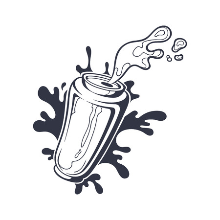 Vector hand drawn black and white illustration of can with beer or soda. Aluminum bottle with drink splash isolated on white. Sticker on comics style