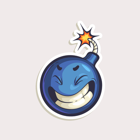 Vector color sticker with funny bomb with burning wick in comics style isolated on white background.