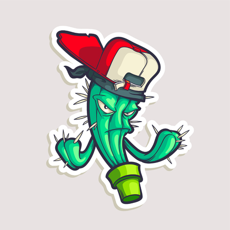 Color sticker for teen with funny cartoon character in cap. Vector hand drawn illustration with hip hop personage isolated on white. Cool cactus in comics style