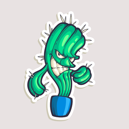 Vector color sticker for teen with funny cartoon character. Hand drawn illustration with cool smiling cactus in comics style.