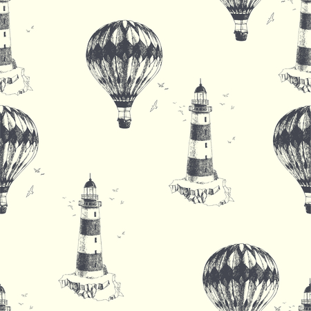 Summer dreams. Vector seamless pattern with vintage illustrations of travel symbols. Hand drawn texture with engraved lighthouse and aerostat isolated on white.