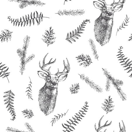 Vector vintage seamless pattern. Forest life. Hand drawn texture with deer head and botanical elements. Animal with branches, herbs and other natural details.