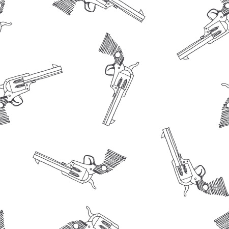 Vector seamless pattern with vintage gun. Hand drawn texture with revolver isolated on white. Old weapon in sketch style. Wild West symbol.