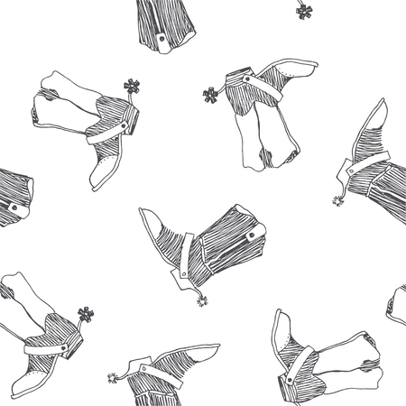 Vector seamless pattern with wild west symbol. Cowboy boots with spurs sketch. Hand drawn texture with old american shoes isolated on white. Vetores