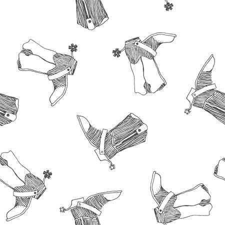 Vektor nahtlose Muster mit Wild-West-Symbol. Cowboystiefel mit Spornskizze. Handgezeichnete Textur mit alten amerikanischen Schuhen isoliert auf weiss. Vektorgrafik