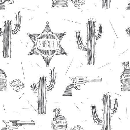 Patrón transparente de vector con símbolos del salvaje oeste. Estrella del sheriff, bolsillo con dinero y revólver aislado en blanco. Fondo de aventura occidental americana. Tema de la fiebre dorada en el estilo de dibujo.