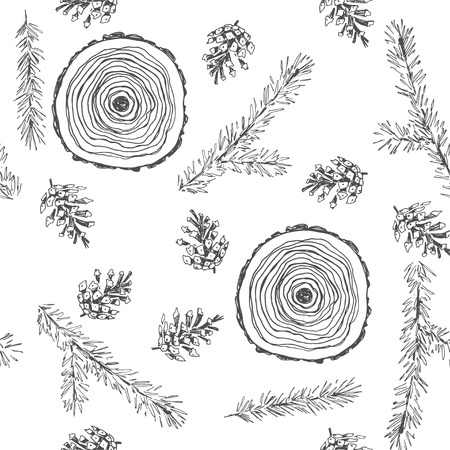 Vector vintage seamless pattern with natural elements isolated on white background. Hand drawn forest texture with pine branches, cones and section of the tree. Botanical details sketch.