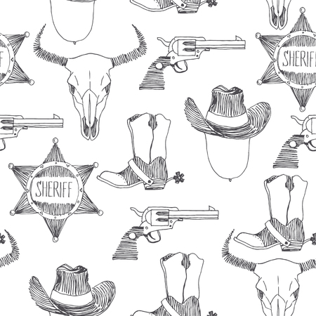 Vektor nahtlose Muster mit Wild-West-Symbolen. Textur mit handgezeichnetem Cowboyhut, Stiefel, Revolver, Sheriffstern und Stierschädel. Amerikanischer Western-Abenteuerhintergrund.