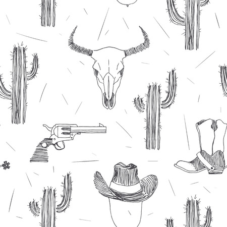 Vector seamless pattern with Wild West symbols isolated on white background. Sketch of bull skull, cowboy hat, boots with spurs and cactuses. American western adventure hand drawn texture. Illusztráció