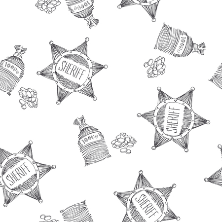 Vector seamless pattern with sheriff star and pocket of coins. Golden fever symbols in sketch style. American western adventure texture.