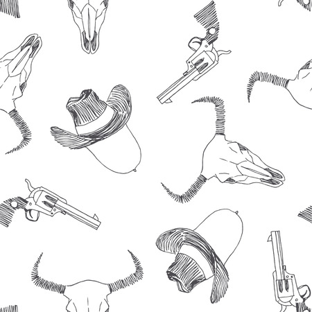 Vector seamless pattern with Wild West symbols isolated on white background. Sketch of bull skull, cowboy hat and revolver. American western adventure hand drawn texture.