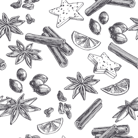 Vector vintage seamless pattern with spices and sweets isolated on white. Hand drawn illustration of cinnamon, cardamom and berries in engraving style.