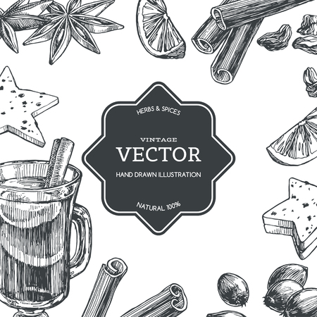 Vector vintage background with mulled wine in cup and ingredients for it isolated on white. Hand drawn texture with traditional winter drink with spices in engraving style. 向量圖像