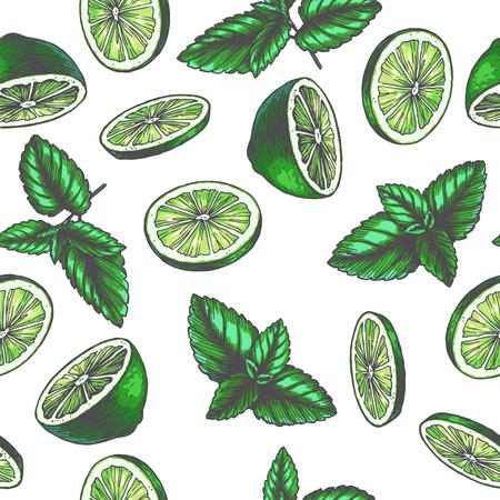 Nahtloses Muster der Vektorweinlese mit Bestandteilen für Getränk. Handgezeichnete Farbtextur mit Pfefferminzblättern und Limettenscheiben im Gravurstil. Skizze von Gewürzen isoliert auf weiß
