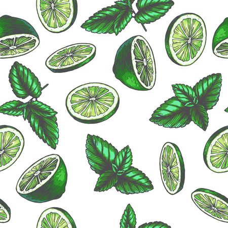 Vector vintage seamless pattern with ingredients for drink. Hand drawn color texture with peppermint leaves and slices of lime in engraving style. Sketch of spices isolated on white