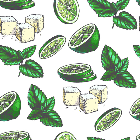 Vector vintage seamless pattern with ingredients for cocktail. Hand drawn color texture with peppermint leaves, green slices of lime and lump sugar in engraving style. Sketch of spices isolated on white