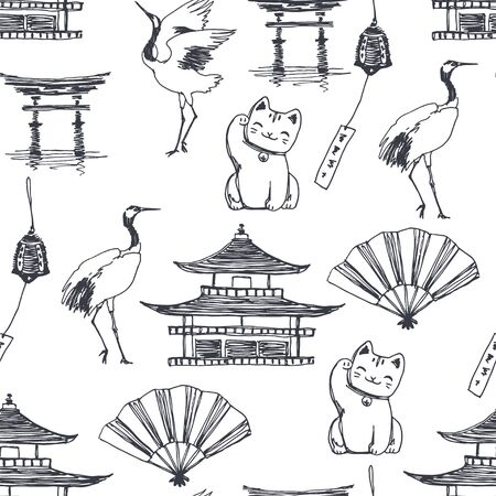 Vector seamless pattern with symbols of Japan background. Hand drawn texture with pagoda, dancing cranes, cat raised paw, fan and bell in sketch style.