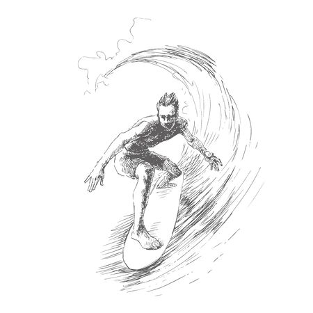 Vector illustration with surfer on wave. Hand drawn sketch. Man on board with water splashes.