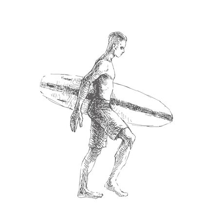 Vector hand drawn illustration. Man with board walking along the beach. Summer vacation. Sketch of surfer.  イラスト・ベクター素材
