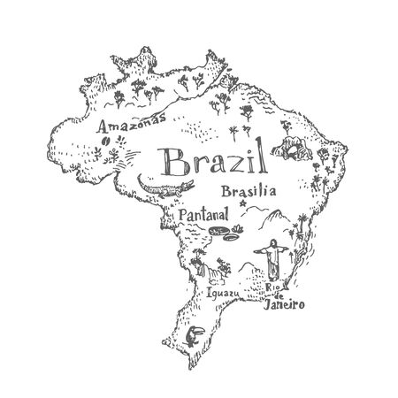Brazil map with symbols and landmarks. Vector vintage hand drawn illustration isolated on white. Black and white sketch. Stock Illustratie