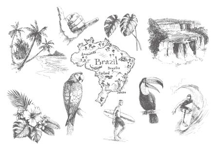 Vector vintage set illustrations of symbols tropical summer vacation. Hand drawn sketch of beach, surfer, toucan, parrot, sign shaka and exotic flowers isolated on white. Brazil doodle map.