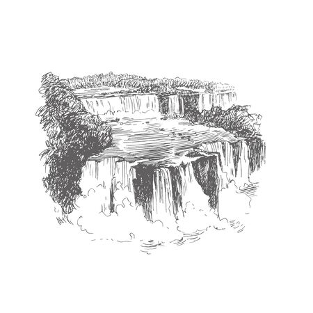Vector illustration of waterfall in Brazil. Iguazu falls black and white sketch. Hand drawn vintage illustration with landscape of South America.