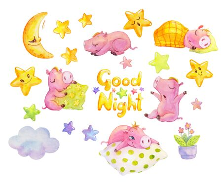 Good night watercolor set. Cute dreaming piggies. Hand painted illustration with sleeping cartoon characters, stars, moon and cloud.
