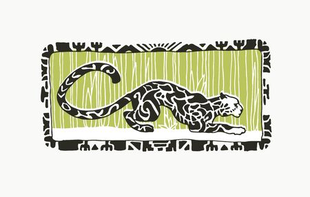Vector hand drawn illustration with leopard on floral background in linocut style. Sketch of jaguar with ornamental spots on fur.