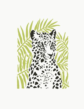 Vector illustration of leopard portrait in linocut style. Hand drawn sketch of stylized jaguar for print. Details of animal fur and muzzle.