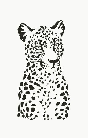 Vector illustration of leopard portrait in linocut style. Hand drawn sketch of stylized jaguar for print.