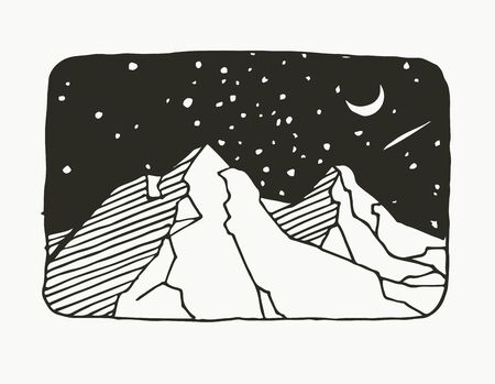 Vector illustration with black and white mountain landscape. Night sky in linocut style. Beautiful of nature.