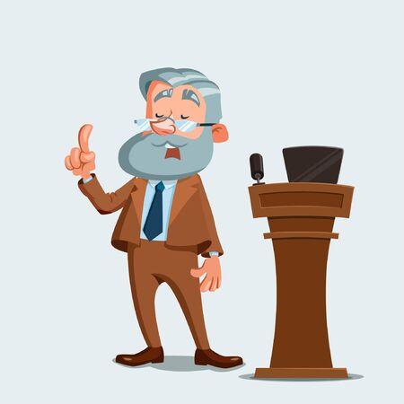 University professor giving a lecture. Vector illustration. Cartoon character. Stock Illustratie