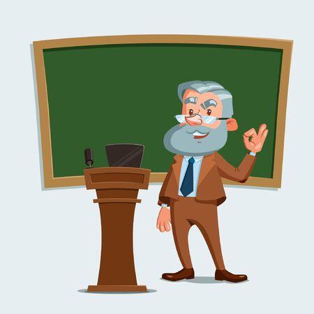Professeur d'université debout avec tableau noir et tribune. Ok signe. Illustration vectorielle. Personnage de dessin animé.