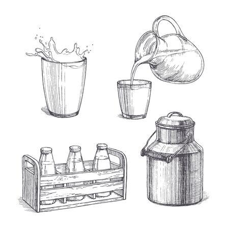 Ensemble vintage de vecteur d'illustrations de lait dans le style de gravure. Croquis dessinés à la main de verre avec éclaboussures, bouteilles dans une caisse en bois, produit frais versé d'un pot dans une tasse et boîte métallique.