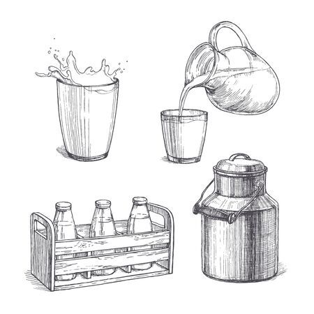 Vector vintage set of milk illustrations in engraving style. Hand drawn sketches of glass with splash, bottles in wooden crate, fresh product pouring from jar in cup and metallic can.