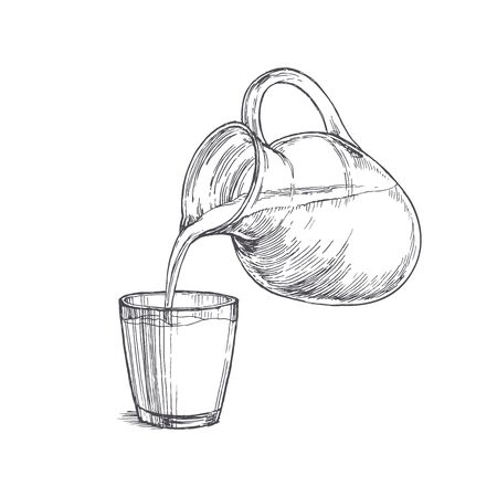 Vector vintage illustration with milk pouring from a jar in glass in engraving style. Hand drawn sketch with drink. Vector Illustration