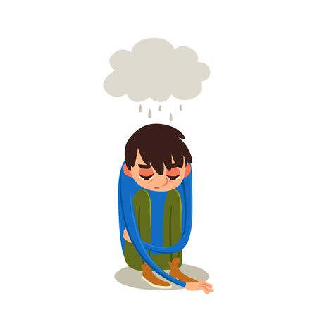 Young man sitting on floor with gray cloud of sad thoughts. Vector cartoon character in depression. Illustration of emotional condition. Flat emotion.